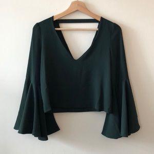Emerald Green Zara Bell Sleeve Crop Top